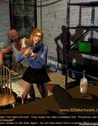 Slave art. Blonde girl taken into criminals basement!