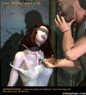 Humiliation comics. Roped slave girl bites her tormentor's finger!