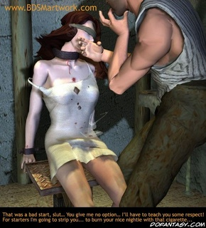 Slave art. He hits her face for biting his finger!