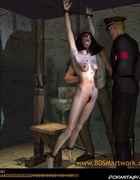 Bdsm comics. Torturer hits stomach of captured girl!