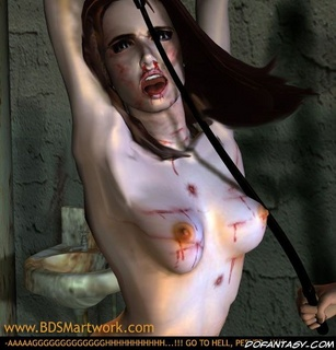 Slave comics. Bald tormenter spanks bound girl's tits!