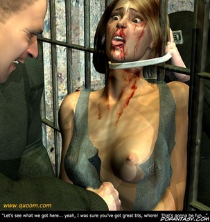 Torture drawings. Brunette slave tied and taken to the cell!