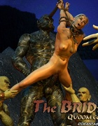 Fetish cartoons. Blonde girl tied to statue with huge cock!