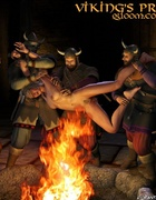 Adult bondage comics. Vikings torture their victim over the fire!
