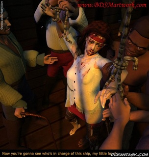 Slave girl. Pirates tied their slave girl and gonna whip her!