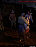 Slave art. Pirates stop whipping their slave!