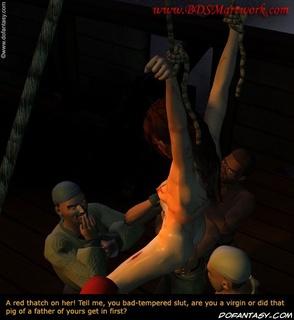Bondage art. Pirates checking if their slave girls is virgin!