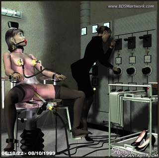 Bdsm art. Girl tied to chair and it seems she gonna be tortured by electricity!