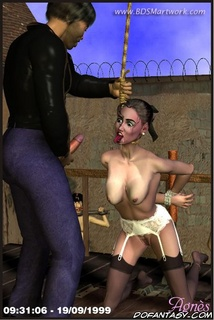 Bondage art. Hanged girl blows her master's cock!