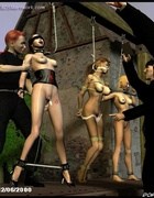Bdsm art drawings. Three busty slave girls hanged and violated!