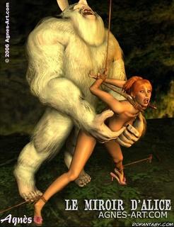 Bdsm art drawings. White beast fucks redhead slave girl!
