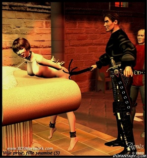 Bondage toons. Brunette girl got spanked and then her body was chained!