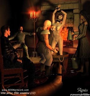 Torture drawings. Cruel Master enjoys his new slave girl!