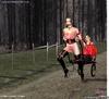 Bondage toons. Busty slave girls harnessed like a…