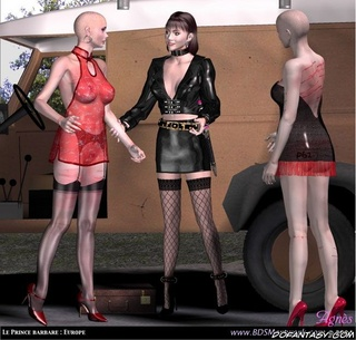 Submission art. Two bald slave girl in lingerie and their Mistress in latex outfit!
