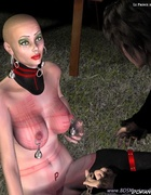Bondage toons. Bald slave girl obeys to her…