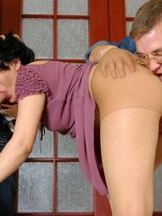 Sexy cutie in tan tights seduced into hot sucking - XXXonXXX - Pic 11