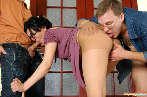 Sexy cutie in tan tights seduced into hot sucking and fucking by lewd guys - XXXonXXX - Pic 11