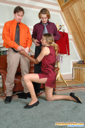 Freaky chick getting her smooth tights torn at the crotch area in hot 3some - XXXonXXX - Pic 12