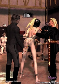 Bdsm art drawings. Blonde girl in leather mask was punished!