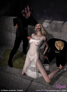 Bdsm cartoons. Blonde slave's pussy expolred my Master!