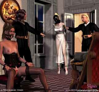 Adult bondage comics. Servant introduces a new slave to his lord!