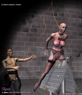 Submission comics. Bald slave girl gets her pussy tortured!