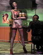 Slave art. Chained slave giel works as waitress!