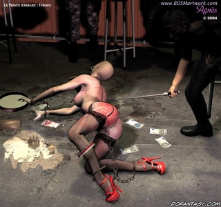 Bondage art. Military men fucks a bald slave girl!