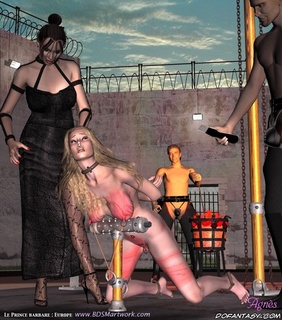 Bondage toons. Slave girl strictly humiliated by Mistress!