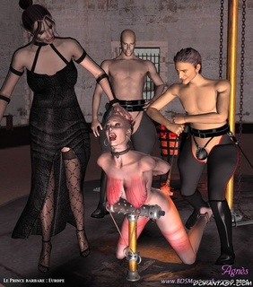 Slave art. Her hair cut and she becomes bald slave girl!