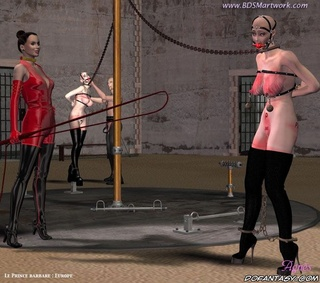 Bdsm comics. Two slave girls chained and run around as pony in circus!