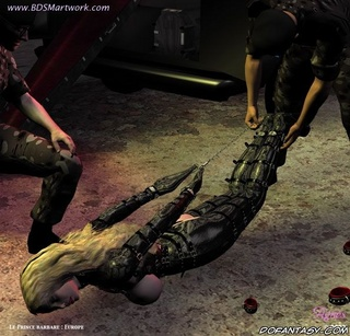 Bondage comics. Girl caught and bound by two military guys!