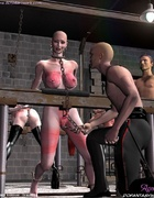 Slave art. Bald slave girls are living in the stable like a horses!