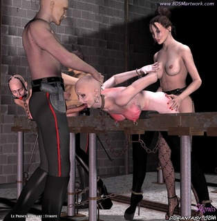 Bondage cartoons. Mistress and her servant fuck tied slave girl!