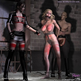 Fetish cartoons. Blonde slave girl is taken to her new home - cell!