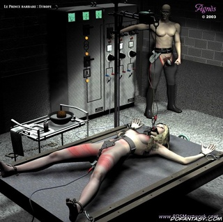 Horror comics. Blonde slave violated on the table!