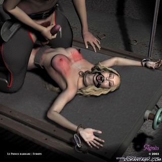 Bdsm art drawings. Slave girls get fucked by two military guys!