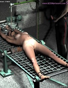 Bondage art. Slave is tortured by the water running in her opened mouth!