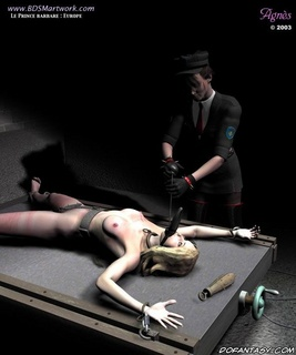 Torture drawings. Mistress humiliates her new blonde slave!