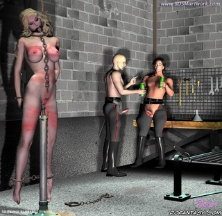 Slave comics. Her blond pussy takes enormous dildo inside!