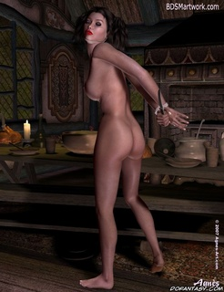 Submission art. Naked Snow White released her hands and strated to eat!