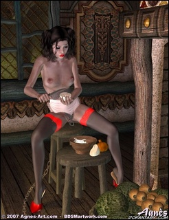 Sado comic. Naked Snow White makes all houseworks in gnome's house!