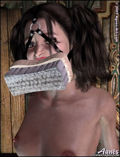 Slave girl comics. Snow White gagged with brush so she can wash the floor!