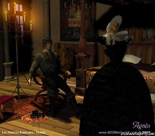 Bondage art. The Barbarian Prince spanked a girl in his room!