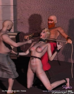 Slave art. Blonde slave hanged and fucked in both holes!