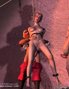 Slave art. Blonde slave hanged and fucked in both…