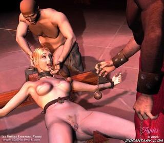 Bdsm art drawings. Slave girl gets iron balls hanged on her nipples!