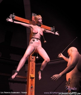 Submission art. Blonde girl crucified and whipped in the basement!