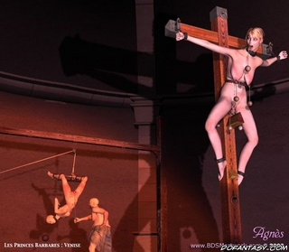 Sado cartoons. Slave girl crucified and gets her body spanked!